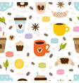 hand drawn coffee and tea seamless pattern set of vector image