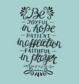 hand lettering be joyfu in hope vector image vector image