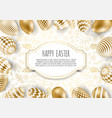 happy easter background with realistic golden vector image