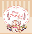 happy mothers day card with cute animals cartoons vector image vector image