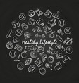 healthy lifestyle round concept on blackboard vector image vector image