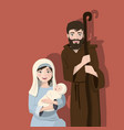 holy family on a flat background christmas vector image vector image