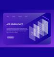 isometric app development landing page vector image