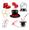 magician symbol set vector image vector image