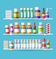 medication shelves for drugstore vector image vector image