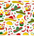mexican cuisine food and sombrero seamless pattern vector image
