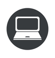Monochrome round laptop icon vector image vector image