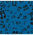 Musical Notes Seamless Pattern Blue vector image vector image
