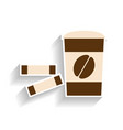 paper cup with coffee and sugar sachets flat vector image vector image