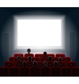 People watching movie at cinema hall Film screen vector image vector image