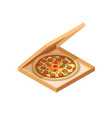 pizza cardboard box isometric view opened and vector image vector image