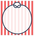 Round navy blue rope frame with a knot on striped vector image vector image