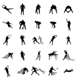 rugplayers silhouette set vector image