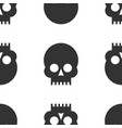 seamless pattern black skulls on a white vector image
