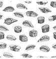 seamless pattern sushi rolls vector image