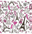 seamless pattern with eiffel tower paris romantic vector image vector image