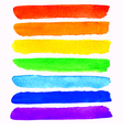 set of 7 colorful watercolor rainbow brush strokes vector image