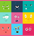 set of cartoon monsters faces with different vector image vector image