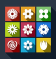 Set of flower icons with long shadow vector image vector image