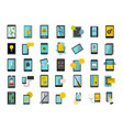 smartphone icon set flat style vector image