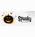 spooky halloween banner with smiling pumpkin ghost vector image vector image