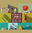 sports set basketball bicycle horsemanship kayak vector image