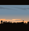 urban scene with roofs and sunset vector image vector image