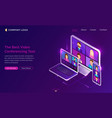 video conference online call isometric landing vector image