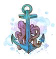 Vintage hand drawn anchor and octopus vector image