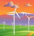 wind turbines farm sunset landscape vector image vector image