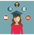 woman graduates in graduation hat Student vector image vector image