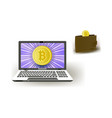 bitcoin concept - golden coin wallet and laptop vector image
