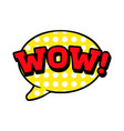 wow word in speech bubble comic vector image