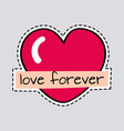 love forever big red heart cut it out patch vector image