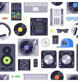 Music concept seamless pattern made with icons vector image