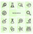 14 research icons vector image vector image