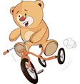 A stuffed toy bear cub and a childrens tricycle vector image vector image