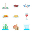 argentina travel icons set cartoon style vector image vector image