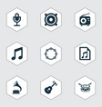 audio icons set collection of barrel megaphone vector image vector image