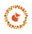 autumn background with cute fox autumn vector image