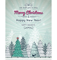 background with forest of christmas trees vector image