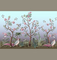 border in chinoiserie style with birds and peonies vector image vector image