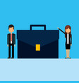 business couple with portfolio avatar character vector image