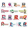 business icons letter r corporate identity vector image