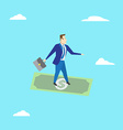 Businessman surfing on dollar Business concept vector image