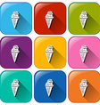 Buttons with cones of ice cream vector image