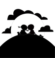 Children sun and clouds silhouettes vector image vector image