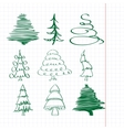 christmas trees sketch set vector image vector image