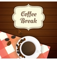 Coffee break with cup of coffee and vector image