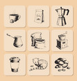 coffee production hand drawn beans vintage drawing vector image vector image